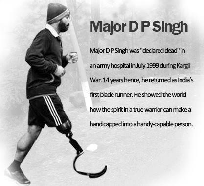 Major D. P. Singh; India's first blade runner; Jazbaa ngo;