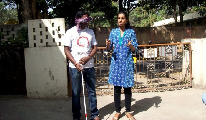 Volunteering with visually challenged, volunteering with disabled, sensitization activities for sighted people