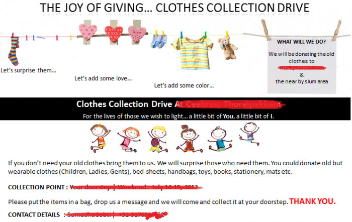 How to organise a clothes collection drive