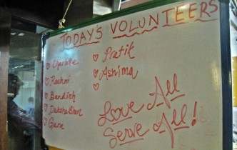 volunteering at Seva Cafe,