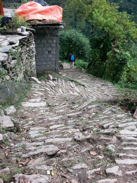The steep winding stone paths along the mountain