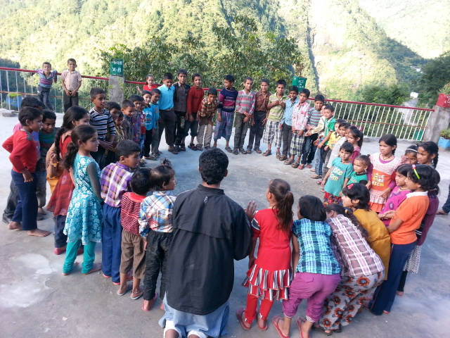 playing with children in the village
