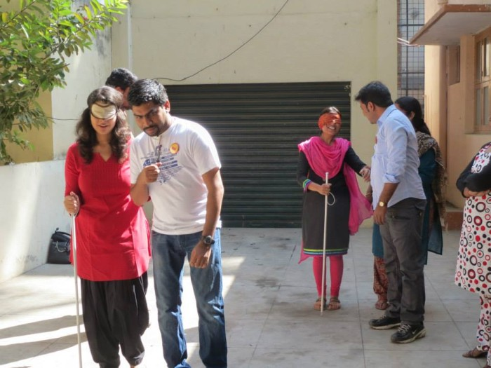 volunteering with blind; volunteering with visually challenged; volunteering with specially abled people, giftabled