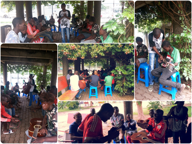 volunteer in Angola, music classes for all in public park,
