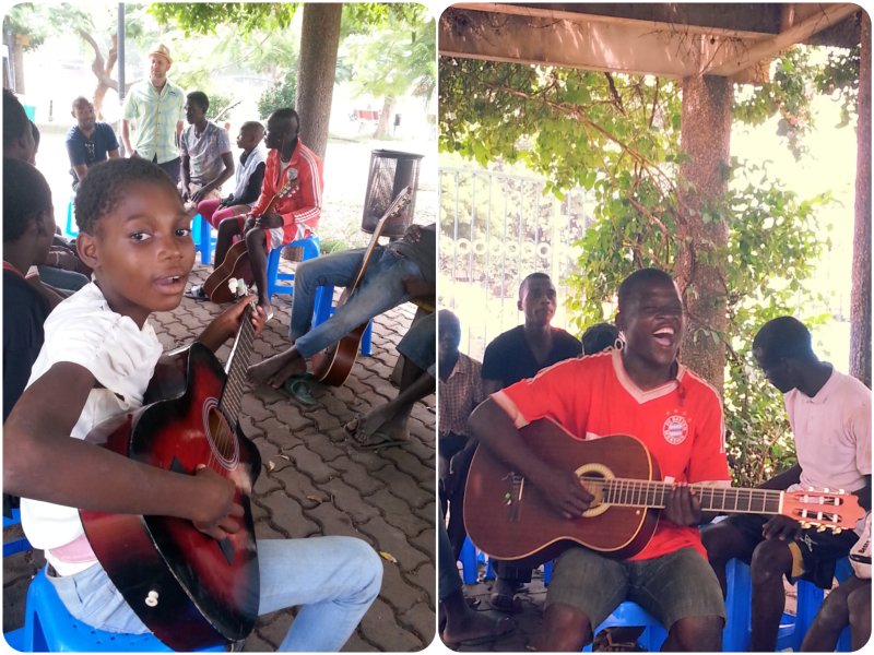volunteer in angola, music sessions for all at public park