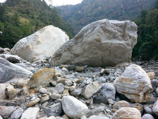 Boulders of all size and shape came down with the river flow