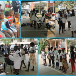 children performing at the pediatric hospital – collage